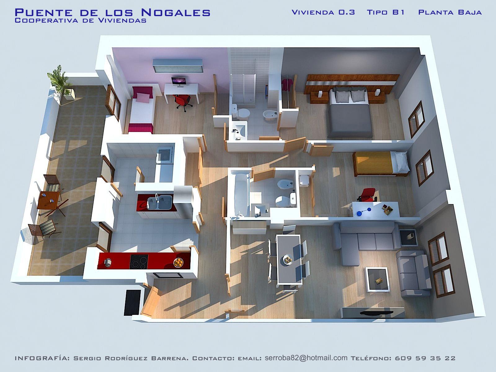Iv viviendas planos calidades y precios asemcor for Planos casas una planta 3 dormitorios