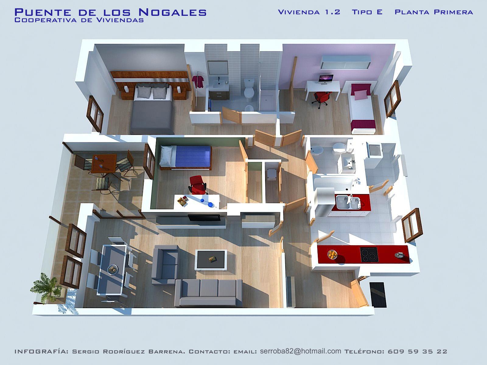 Iv viviendas planos calidades y precios asemcor for Plano vivienda