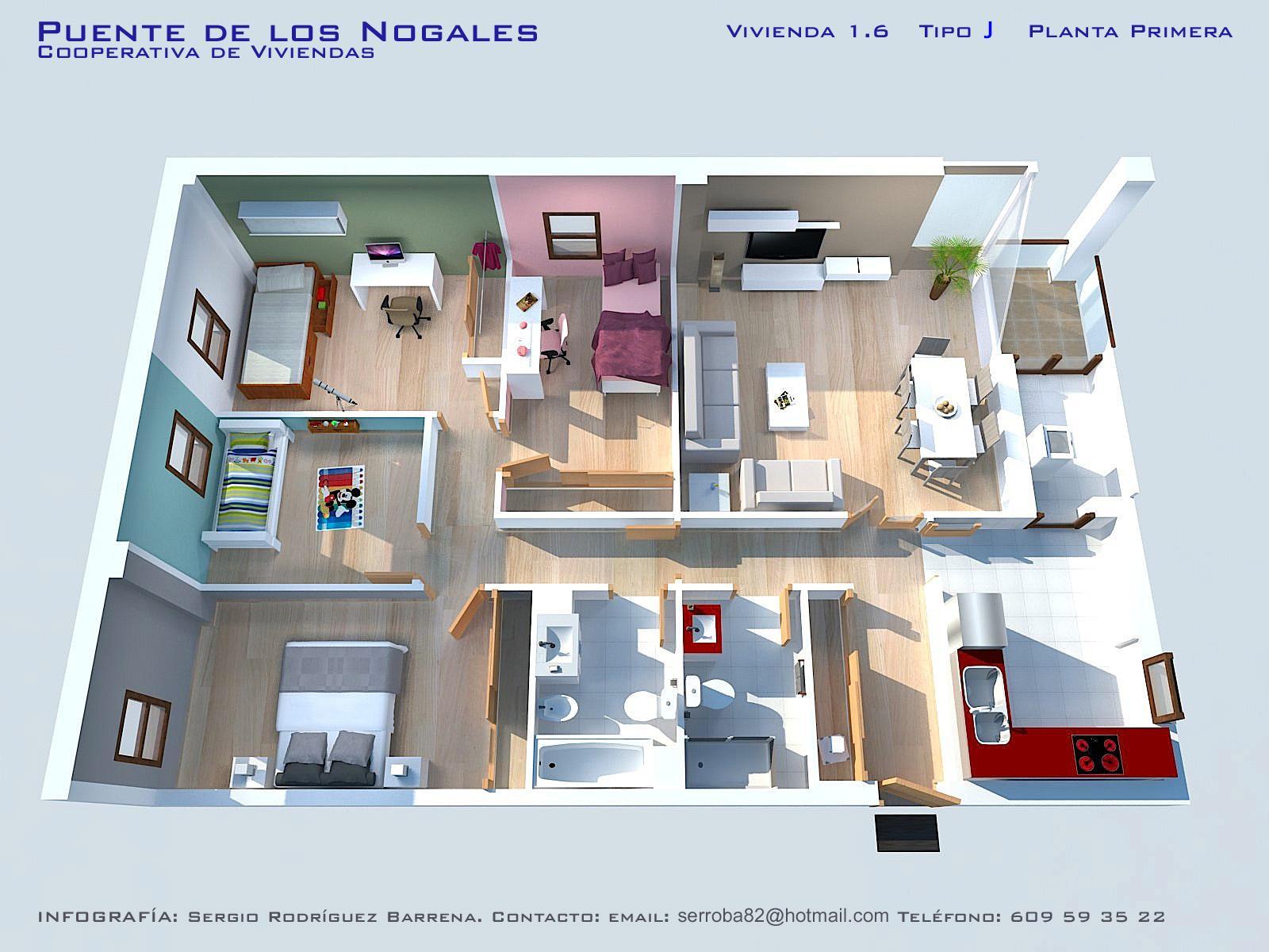 Iv viviendas planos calidades y precios asemcor for Plano de casa quinta moderna