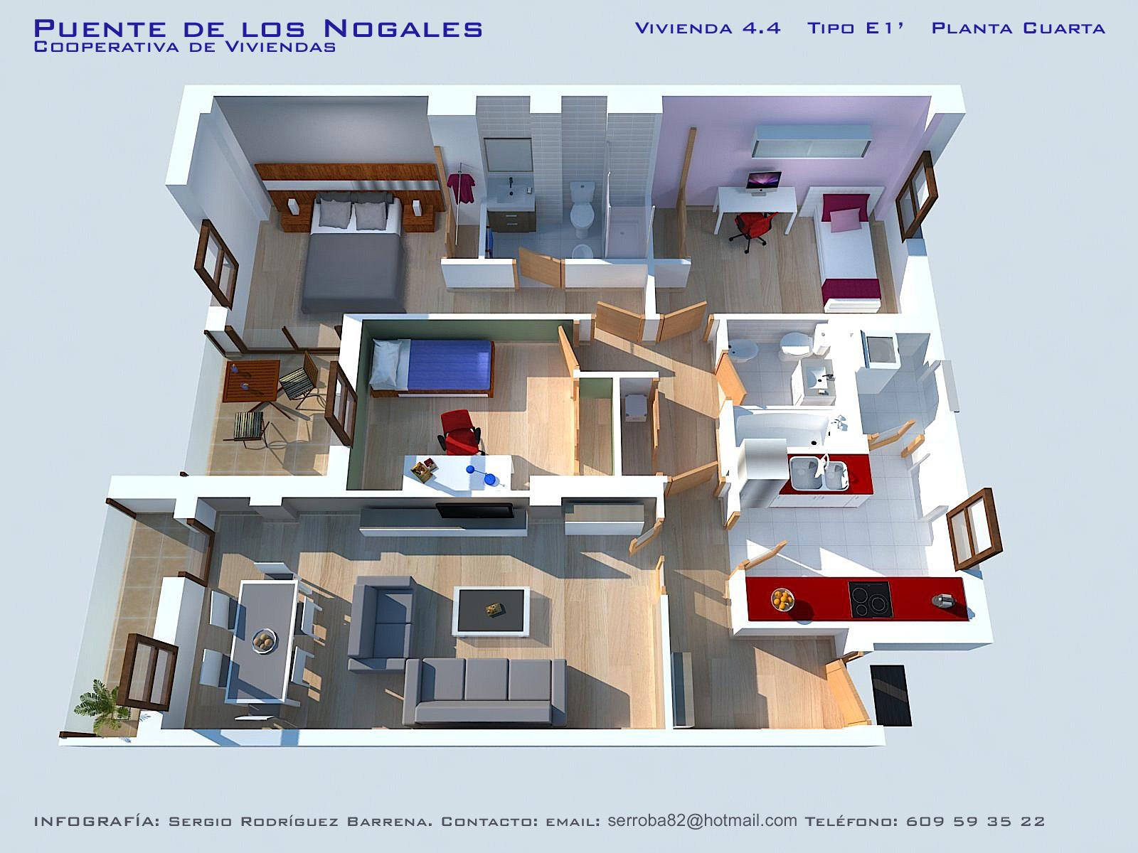 Planos de casas en 3d con 4 dormitorios for Planos de casas 1 planta